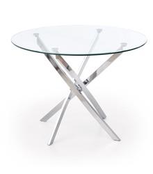 Stół okrągły RAYMOND 100 cm - transparentny/srebrny