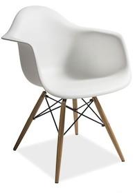 Elegancja i klasa! Białe krzesło z tworzywa z bukowymi nóżkami MONDI dzięki pięknej nowoczesnej formie siedziska i nietuzinkowym nóżkom jest lekkim i...