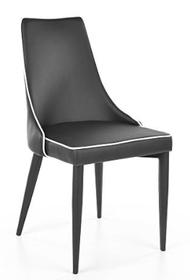 Krzesło SOREN ekoskóra/drewno - czarny