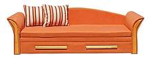 SOFKA PATRYK   SPECYFIKACJA: * tapczanik rozkładany * powierzchnia spania 140x183cm * model na piance (bardzo wygodny)  WYMIARY KANAPY: - Szerokość...
