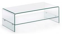 Stolik z półką wykonany ze szkła bezbarwnego, fazowanego, polerowanego i szlifowanego na krawędziach.<br />Rodzaj szkła: Float<br...