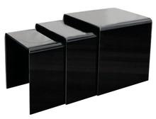 Zestaw stolików szklanych PRIAM TRIO - czarny