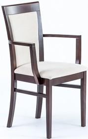 Krzesło wykonane z drewna bukowego z podłokietnikami  Wysokość : 93 cm Szerokość : 57 cm Głębokość : 42 cm Wysokość siedziska : 47 cm ...
