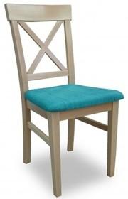 """Mebel posiada na swoim oparciu drewniany stelaż w postaci litery """"X"""". Natomiast siedzisko zostało wykonane z trwałej i wygodnej tkaniny. Istnieje..."""