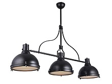 Potrójna lampa wisząca LW-33.  Oprawka 3 x E27, moc MAX 60W.  Kolor:  - czarny Materiał:  - metal/szkło