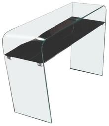 Konsola CASA VIOLINO - szkło transparentne z czarną półką
