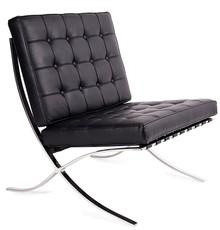 Fotel BARCELON czarny - skóra/chrom
