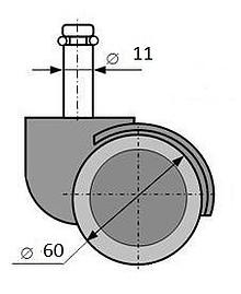 Komplet (5 szt.) kółek do foteli z oponką gumowaną  Parametry techniczne:  - średnica kółka - 60 mm - średnica trzpienia - 11 mm