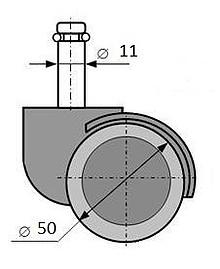 Komplet (5 szt.) kółek do foteli z oponką gumowaną  Parametry techniczne:  - średnica kółka - 50 mm - średnica trzpienia - 11 mm
