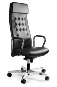 - Regulacja wysokości siedziska - Siedzisko i oparcie pokryte wysokiej jakości ekoskórą - Podłokietniki wykonane z chromowanego metalu - Podłokietnik...