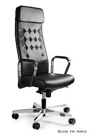 - Regulacja wysokości siedziska - Siedzisko i oparcie pokryte wysokiej jakości skórą naturalną - Podłokietniki wykonane z chromowanego metalu -...