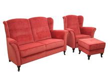Jakość i styl!  Wygodny komplet wypoczynkowy DAVID:sofa 2 - osobowa, fotel i pufa. Meble wykonane na stelażu drewnianym. Siedzisko: sprężyna...