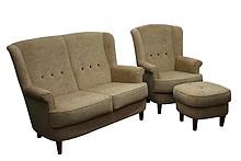 Komfort dla Twojego domu!  Elegancki komplet wypoczynkowy EVORA: sofa 2 - osobowa, fotel i pufa. Meble wykonane są na stelażu drewnianym. Siedzisko:...