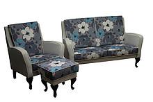 Komfort dla Twojego domu!  Nowoczesny komplet wypoczynkowy HELENA:sofa 2 - osobowa, fotel i pufa. Meble wykonane są na stelażu drewnianym....