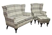 Stylowe rozwiązanie dla Twojego salonu.  Stylowy komplet wypoczynkowy LUDWIK:sofa 2 - osobowa, fotel i pufa. Meble wykonane na stelażu drewnianym....