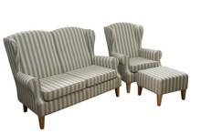 Stylowe rozwiązanie dla Twojego salonu.  Klasyczny komplet mebli wypoczynkowych LUGO:sofa 2 - osobowa, fotel i pufa. Meble wykonane na stelażu...