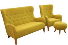 Komfortowe rozwiązanie dla Twojego salonu.  Komplet nowoczesnych mebli wypoczynkowych JULIA: sofa 2 - osobowa, fotel i pufa. Meble wykonane na stelażu...