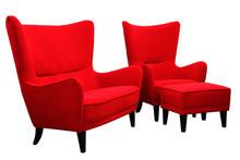 Styl i wygoda!  Nowoczesny, modny komplet mebli wypoczynkowych ROMEO:Sofa 2-osobowa, fotel i podnóżek Meble wykonane na stelażu drewnianym....