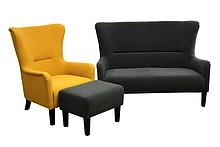 Styl i wygoda!  Wygodny komplet wypoczynkowy FRANK: sofa 2 - osobowa, fotel i pufa. Meble wykonane na stelażu drewnianym. Siedzisko: sprężyna falista,...