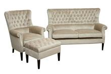 Jakość i styl!  Unikatowy komplet mebli wypoczynkowych RIALTO:sofa 2-osobowa, fotel i pufa. Stelaż drewniany. Siedzisko: sprężyna falista, oraz...
