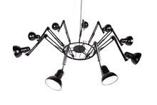 Lampa wykonana została z aluminium.<br />Składa się z 9 niezależnych względem siebie ruchomych ramion.<br />Klosze zewnątrz matowe, wewnątrz...