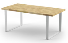 Średni stół dębowy z kolekcji DABLIN z białą podstawą