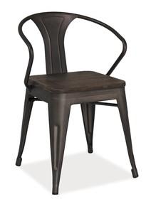 Wymiary:  - wysokość: 76 cm - szerokość: 51 cm - głębokość: 36 cm - wysokość do siedziska: 46 cm  Materiał:  - metal - stal szczotkowana ...