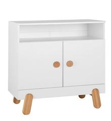 """Komoda z kolekcji I""""ga posiada dwoje drzwi wyposażone w wysokiej jakości zawiasy z hamulcami i samodomykiem oraz jedną półkę - wnękę...."""