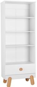 Regał otwarty posiada 3 półki oraz jedną szufladę - jest ona wyposażona w wysokiej jakości prowadnicę z hamulcem i samodomykiem.  Materiały i...