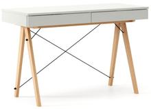 Biurko BASIC kolor LIGHT GREY stelaż BUK (standard)  Minimalistyczne biurko z dwoma dyskretnymi szufladami. Wykonane ręcznie z litego drewna i blatu w...