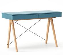 Biurko BASIC kolor OCEANIC stelaż BUK (standard)  Minimalistyczne biurko z dwoma dyskretnymi szufladami. Wykonane ręcznie z litego drewna i blatu w...