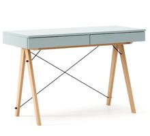 Biurko BASIC kolor ICEBLUE stelaż BUK (standard)  Minimalistyczne biurko z dwoma dyskretnymi szufladami. Wykonane ręcznie z litego drewna i blatu w...
