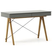 Biurko BASIC kolor GREY stelaż DĄB  Minimalistyczne biurko z dwoma dyskretnymi szufladami. Wykonane ręcznie z litego drewna i blatu w dowolnym odcieniu,...