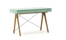 Biurko BASIC kolor MINT stelaż DĄB  Minimalistyczne biurko z dwoma dyskretnymi szufladami. Wykonane ręcznie z litego drewna i blatu w dowolnym odcieniu,...