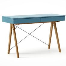 Biurko BASIC kolor OCEANIC stelaż DĄB  Minimalistyczne biurko z dwoma dyskretnymi szufladami. Wykonane ręcznie z litego drewna i blatu w dowolnym...