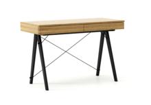 Minimalistyczne biurko z dwoma dyskretnymi szufladami. Wykonane ręcznie z litego drewna i blatu w dowolnym odcieniu, całość spięta stalowymi elementami w...
