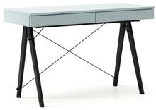 Biurko BASIC kolor ICEBLUE stelaż BUK BLACK  Minimalistyczne biurko z dwoma dyskretnymi szufladami. Wykonane ręcznie z litego drewna i blatu w dowolnym...