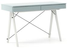 Biurko BASIC kolor ICEBLUE stelaż BUK WHITE  Minimalistyczne biurko z dwoma dyskretnymi szufladami. Wykonane ręcznie z litego drewna i blatu w dowolnym...
