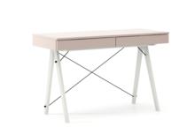 Biurko BASIC kolor DUSTY PINK stelaż BUK WHITE  Minimalistyczne biurko z dwoma dyskretnymi szufladami. Wykonane ręcznie z litego drewna i blatu w dowolnym...
