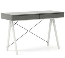 Biurko BASIC kolor GREY stelaż BUK WHITE  Minimalistyczne biurko z dwoma dyskretnymi szufladami. Wykonane ręcznie z litego drewna i blatu w dowolnym...