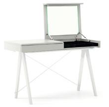 Toaletka Basic kolor LIGHT GREY stelaż BUK WHITE  Minimalistyczne biurko z funkcją toaletki- pod klapą kryje się aksamitna szkatułka i duże lustro....
