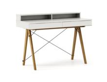 Biurko BASIC+ kolor WHITE stelaż DĄB  Minimalistyczne biurko z dwoma dyskretnymi szufladami. Wykonane ręcznie z litego drewna i blatu w dowolnym...