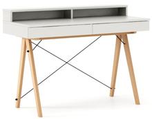 Biurko BASIC+ kolor WHITE stelaż BUK (standard)  Minimalistyczne biurko z dwoma dyskretnymi szufladami. Wykonane ręcznie z litego drewna i blatu w...