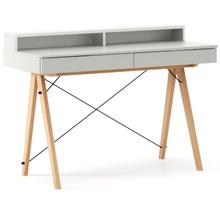 Biurko BASIC+ kolor LIGHT GREY stelaż BUK (standard)  Minimalistyczne biurko z dwoma dyskretnymi szufladami. Wykonane ręcznie z litego drewna i blatu w...