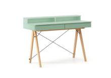 Biurko BASIC+ kolor MINT stelaż BUK (standard)  Minimalistyczne biurko z dwoma dyskretnymi szufladami. Wykonane ręcznie z litego drewna i blatu w dowolnym...