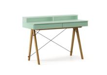 Biurko BASIC+ kolor MINT stelaż DĄB  Minimalistyczne biurko z dwoma dyskretnymi szufladami. Wykonane ręcznie z litego drewna i blatu w dowolnym odcieniu,...