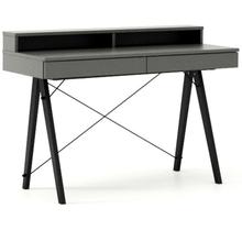 Biurko BASIC+ kolor GREY stelaż BUK BLACK  Minimalistyczne biurko z dwoma dyskretnymi szufladami. Wykonane ręcznie z litego drewna i blatu w dowolnym...