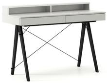 Biurko BASIC+ kolor LIGHT GREY stelaż BUK BLACK  Minimalistyczne biurko z dwoma dyskretnymi szufladami. Wykonane ręcznie z litego drewna i blatu w...