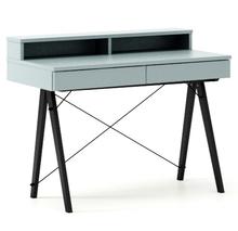 Biurko BASIC+ kolor ICE BLUE stelaż BUK BLACK  Minimalistyczne biurko z dwoma dyskretnymi szufladami. Wykonane ręcznie z litego drewna i blatu w dowolnym...