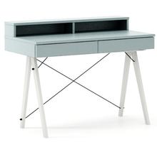 Biurko BASIC+ kolor ICE BLUE stelaż BUK WHITE  Minimalistyczne biurko z dwoma dyskretnymi szufladami. Wykonane ręcznie z litego drewna i blatu w dowolnym...